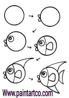 طريقة رسم السمكة للأطفال خطوة بخطوة