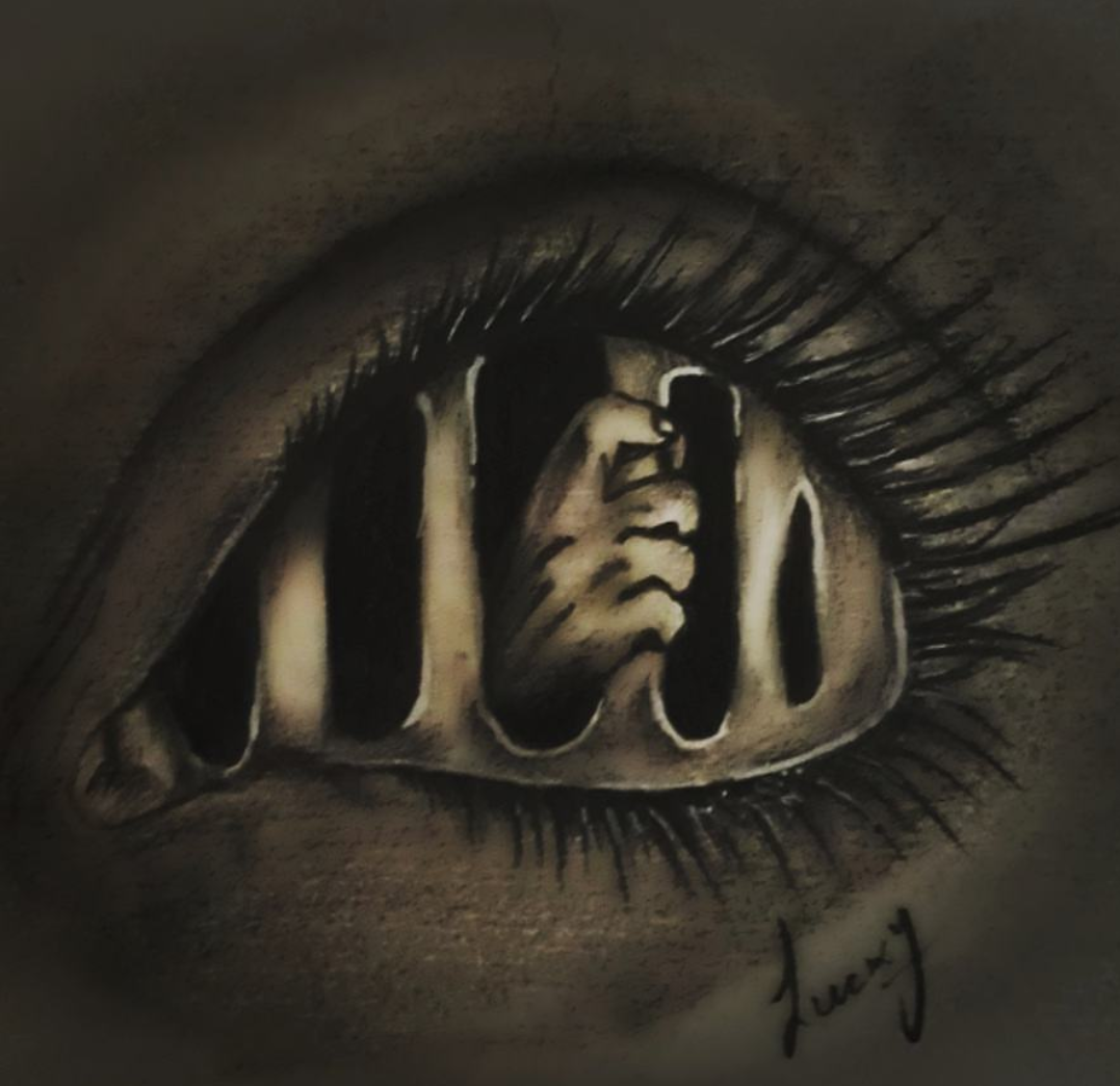 Horror eye pencil sketch