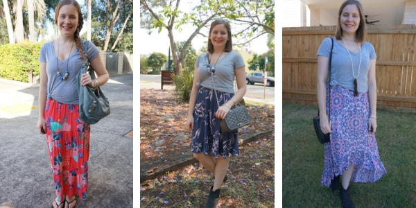 3 ways to wear a grey tee knotted over a printed dress | awayfromtheblue blog