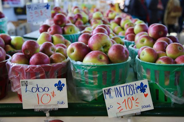 apples at Jean-Talon farmers market, Montreal, Canada