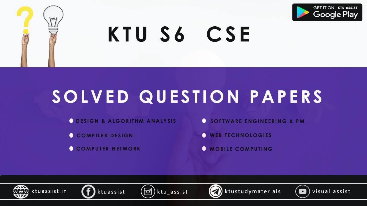Ktu S6 Cse Solved Question Papers Ktu Assist