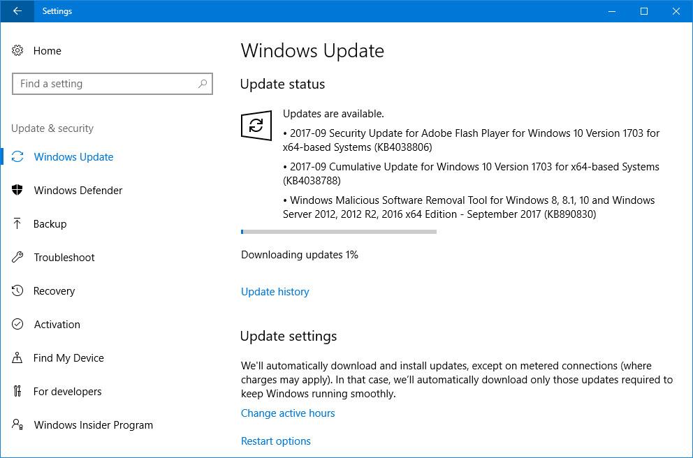 Cumulative Update KB4038788 for Windows 10 v1703 Build 15063.608