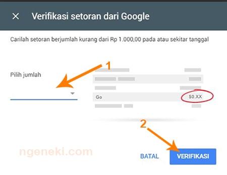 langkah verifikasi rekening di akun Google AdSense