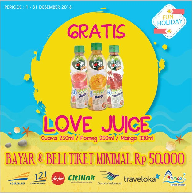 Alfamidi - Gratis Love Juice Untuk Pembayaran Tiket Min 50K (s.d 31 Des 2018)