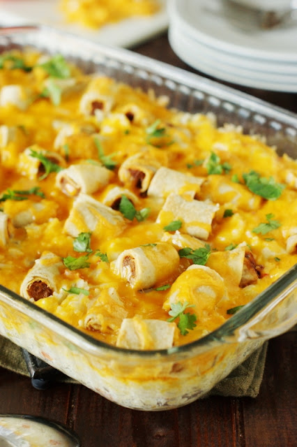 Cheesy Taquito Rice Bake ~ a simple & tasty dish to help quickly get a hearty dinner on the table!  www.thekitchenismyplayground.com