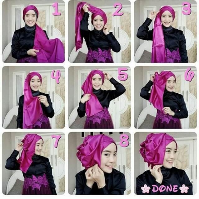 Tutorial Hijab Pengantin memakai Pashmina untuk Akad Nikah dan Resepsi Pesta Pernikahan