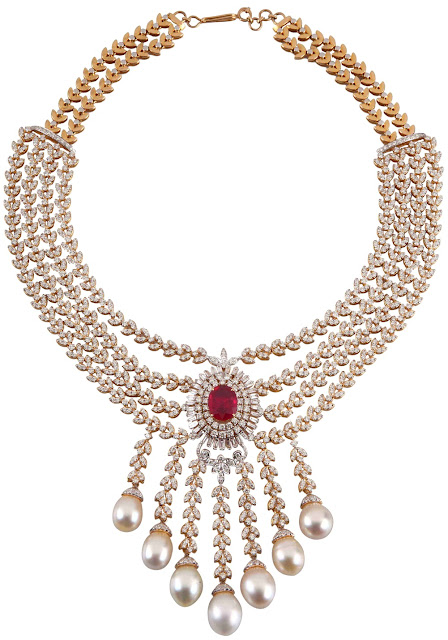 Entice Jewelry Akshaya Tritya collection Ruby, diamond & pearl necklace