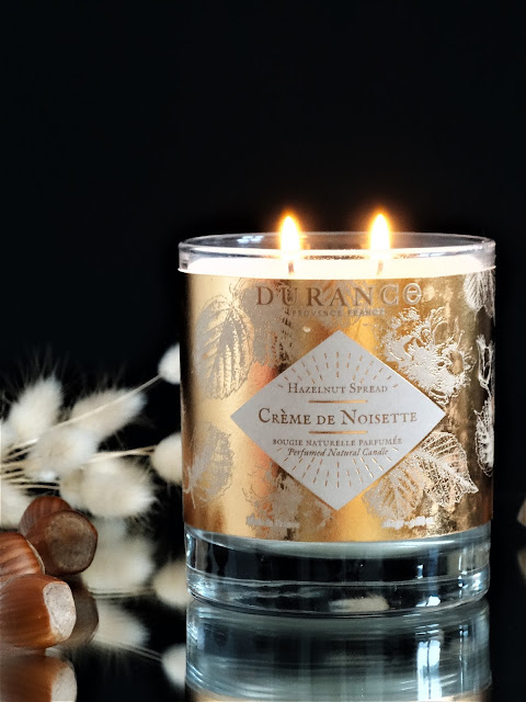 hazelnut scented candle, candle, scented candle, bougie parfumée française, durance bougie noël