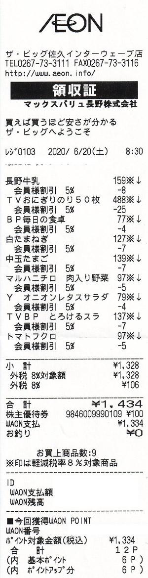 ザ・ビッグ 佐久インターウェーブ店 2020/6/20 のレシート