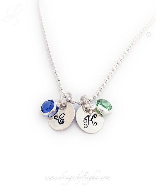 Initial & Birthstone Charm Necklace