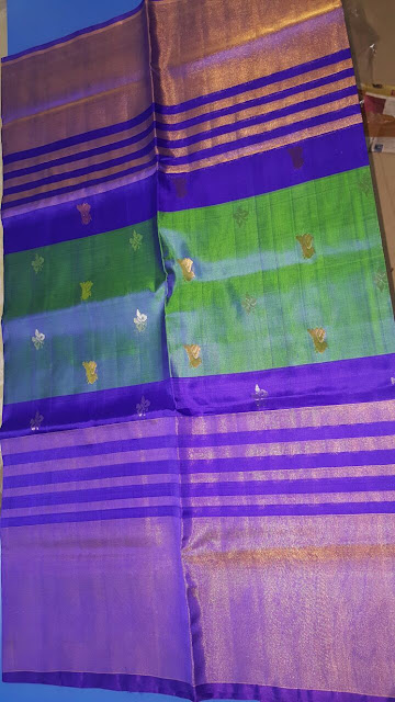 Uppada Handloom Blue color Pattu Saree with bird butta