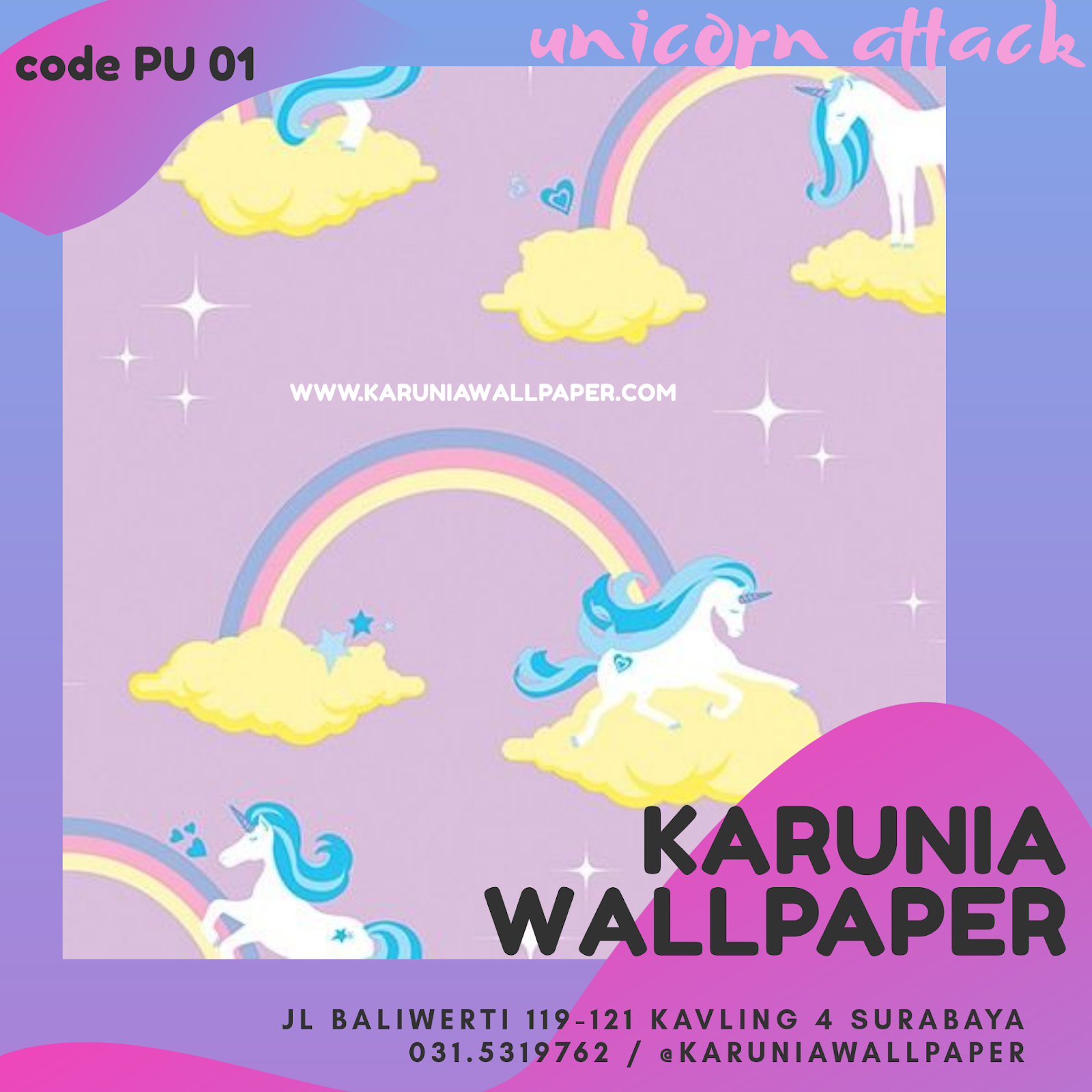 jual wallpaper unicorn anak
