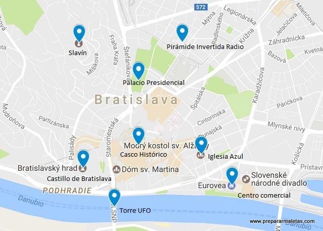 mapa con lugares que ver en Bratislava