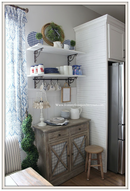 Breakfast- Nook-DIY- Makeover-Skinnylap-Blue & White-Decor-Farmhouse Style-Cottage Style-French Country Farmhouse-From My Front Porch To Yours
