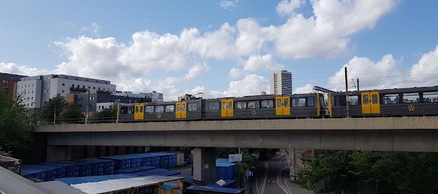A Tyne & Wear Metro service heading into Newcastle from Byker