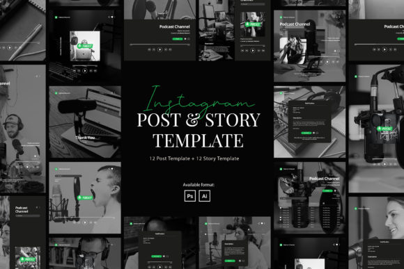 Podcast Instagram Post and Story[Photoshop][Element][6171773]