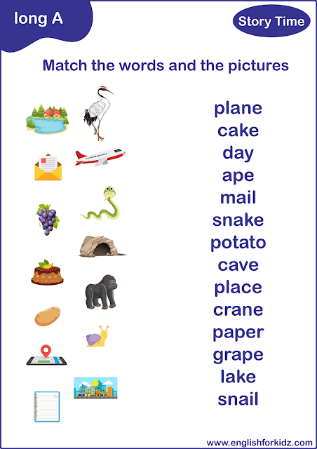 Long A sound words - printable matching worksheet