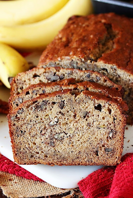 Sliced of Buttermilk Banana Bread with Chopped Pecans Image