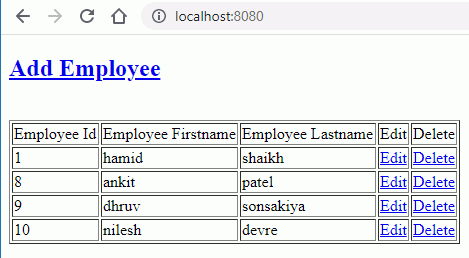 index or list employee file