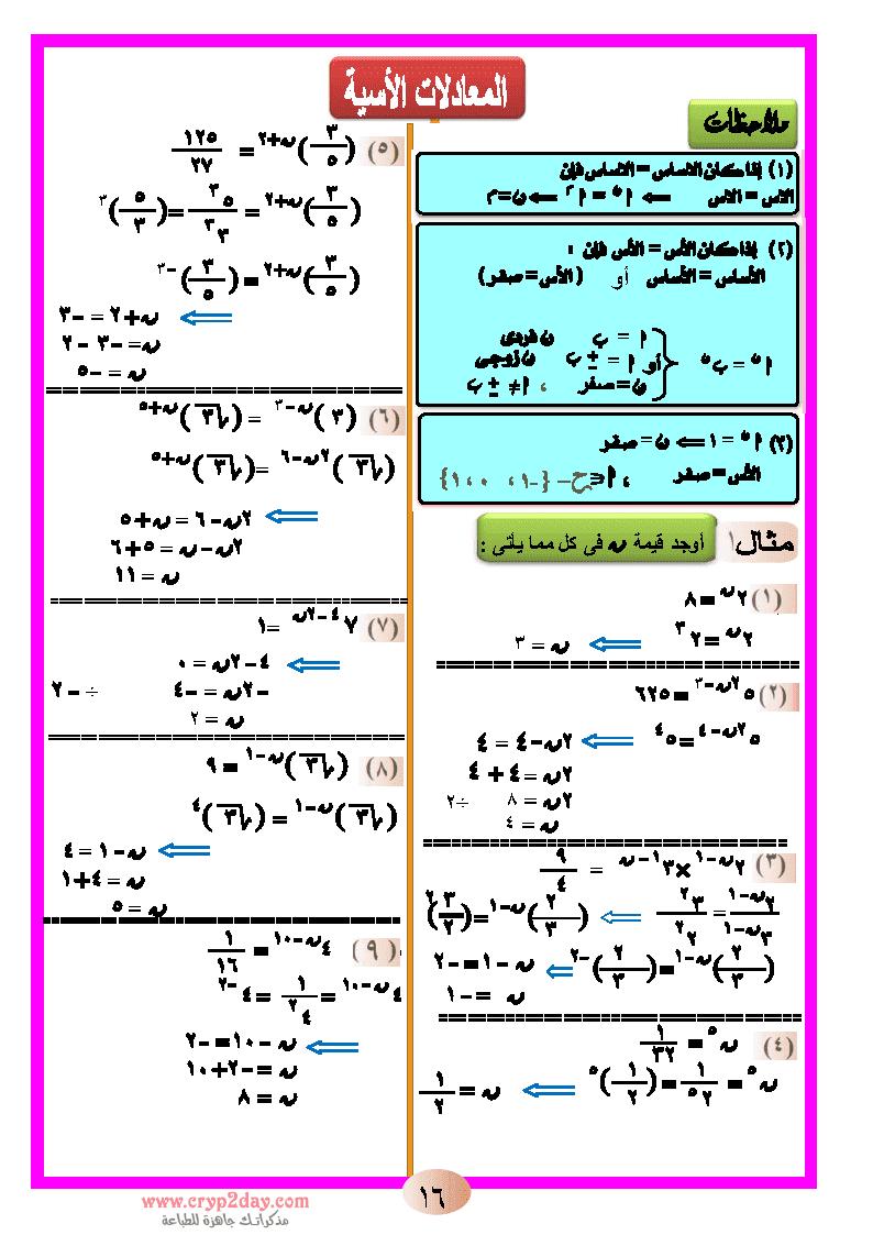 مذكرة مادة الرياضيات