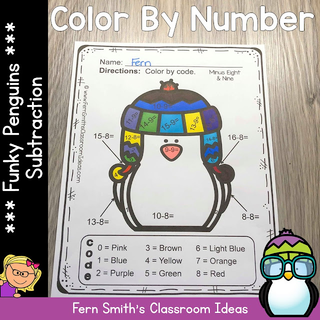 Winter Color By Number Subtraction Bundle at TeacherspayTeachers by Fern Smith of Fern Smith's Classroom Ideas.