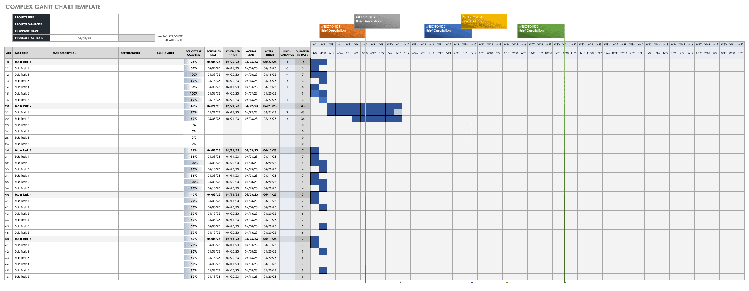Highway Project Schedule Template