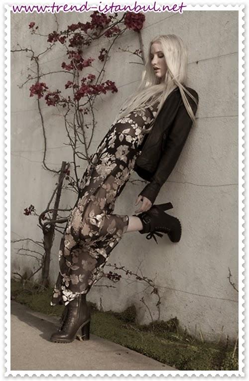 2014 kışlık etek ve elbise kombinleri