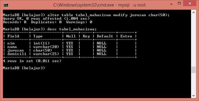 perintah alter modifikasi type data sebuah kolom