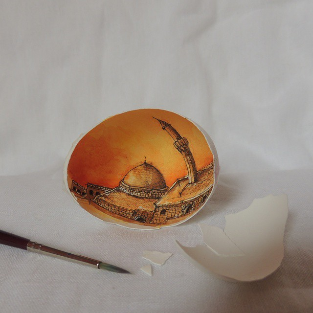 13-Mardin-Süreyya-Noyan-Architecture-Drawings-Art-Paintings-in-an-Egg-www-designstack-co