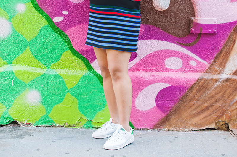 adidas stan smith sneakers, zara striped mini dress, murals of new york