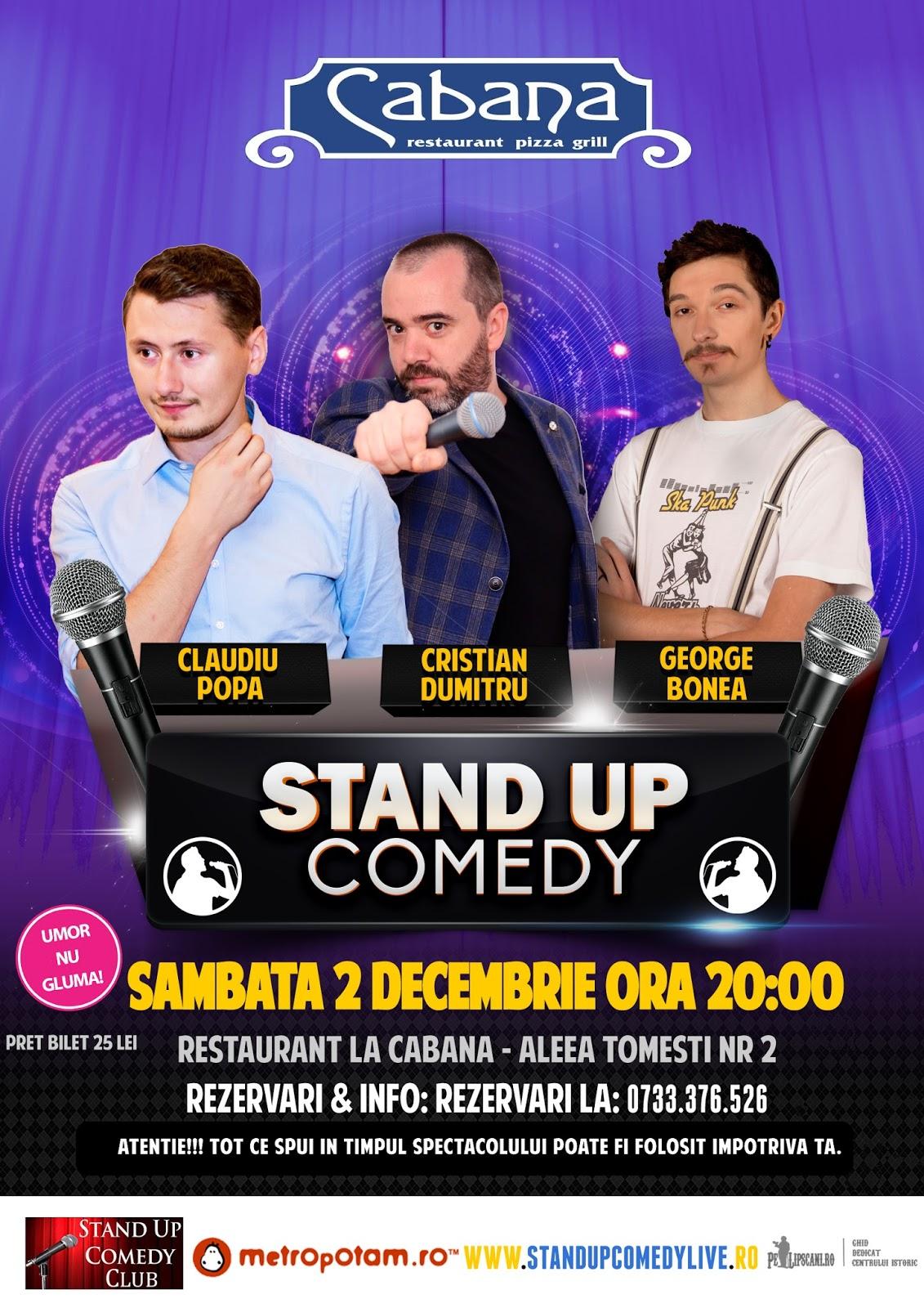 Stand-Up Comedy Sambata 2 Decembrie ora 21
