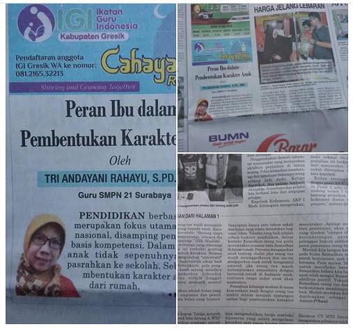 Tulisan Bu Tri Andayani Rahayu, S.Pd., M.M, Guru SMPN 21 Surabaya