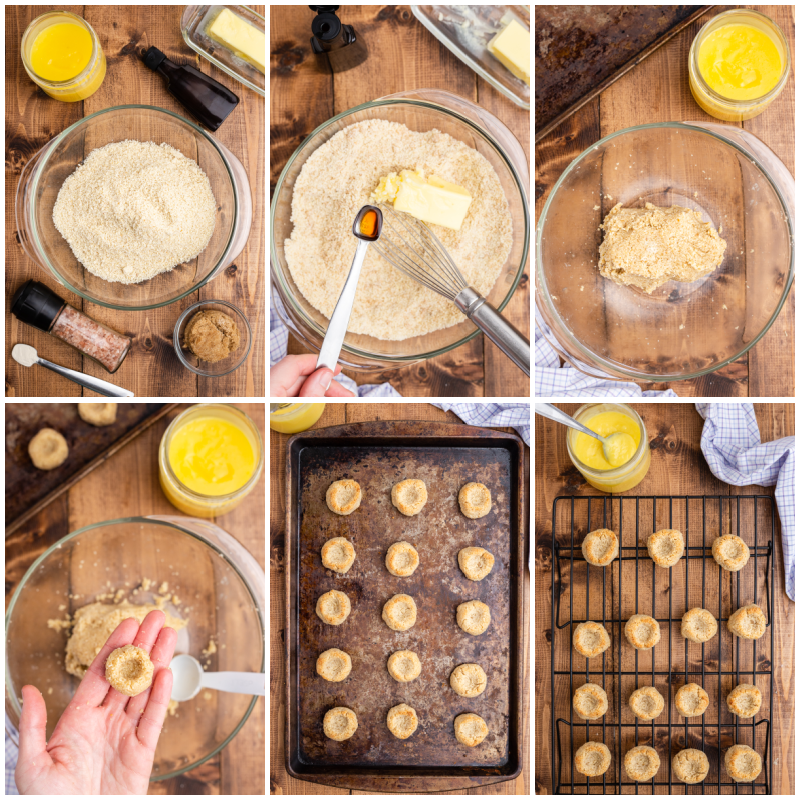 Six photos of the process of making Keto Lemon Thumbprint Cookies.