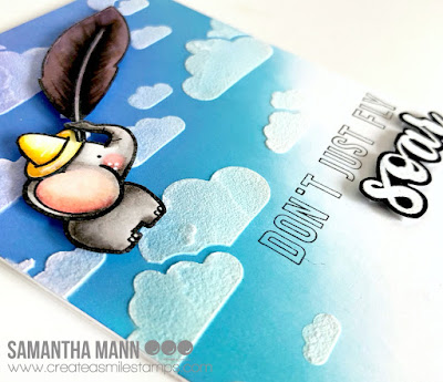 Don't Just Fly, Soar Card by Samantha Mann for Create a Smile Stamps blog, Dumbo, Distress Oxide Inks, Clouds, Stencil, Embossing paste #createasmile #dumbo #elephant #oxideinks #inkblending #cards #cardmaking