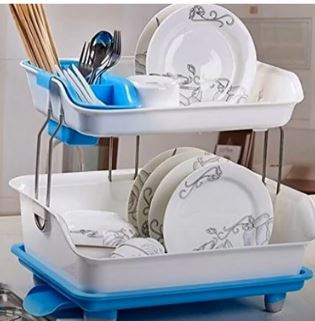 Stvin Kitchen 2 Layer Sink Dish Plate Drainer Drying Rack Wash Organizer with Tray Utensil Holder Basket (Color May Vary)