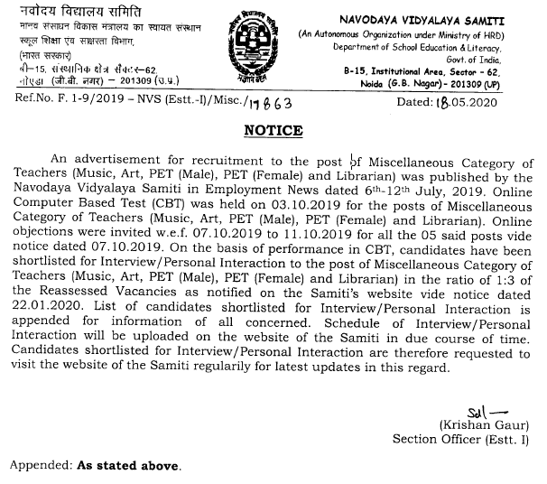 List of candidates shortlisted for Interview /Personal Interaction to the post of Miscellaneous Category of Teachers (Music, Art, PET- Male, PET-Female and Librarian) under Direct Recruitment Drive- July, 2019