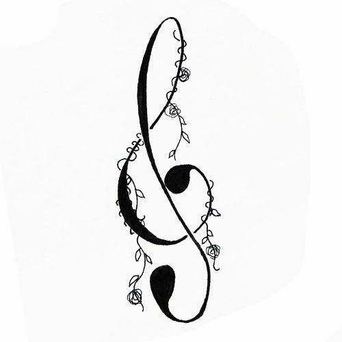 Music Sol key with vine tattoo stencil