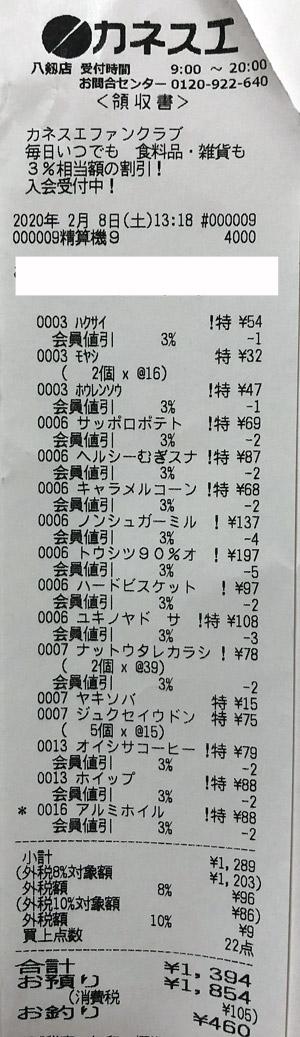 カネスエ 八剱店 2020/2/8 のレシート
