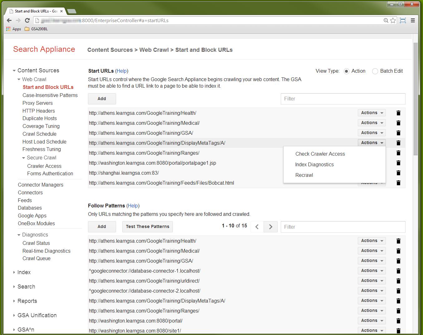 GSA 7.2 - Start URL Actions options
