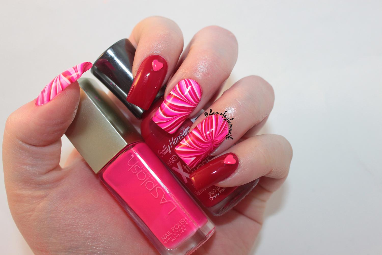 Dazzle Glam Nails   Nail Art Blog: Valentine\'s Water Marble Nail Art