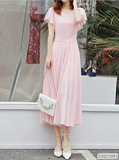 Women's Georgette Solid Maxi Dresses