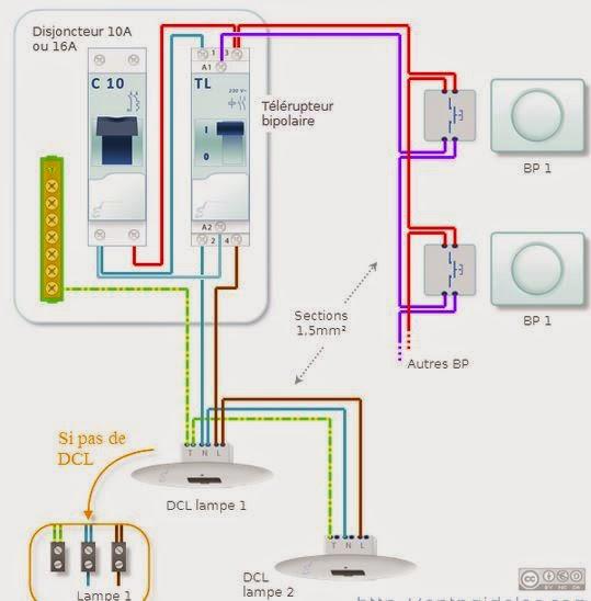 Installation Electrique Allumage Par Boutons Poussoirs Circuit Electrique Télérupteur
