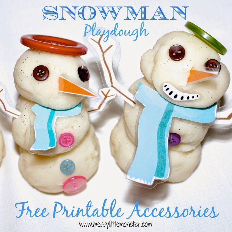 snowman playdough winter activity for kids