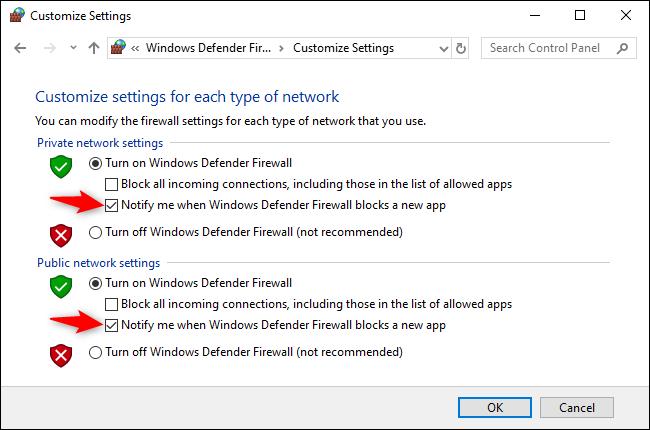 """ألغ تحديد الخيار """"إعلامي عند قيام جدار حماية Windows Defender بحظر تطبيق جديد"""" ضمن إعدادات كل من الشبكة الخاصة والعامة."""