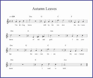 gambar autumn leaves dalam chord biasa musik pop