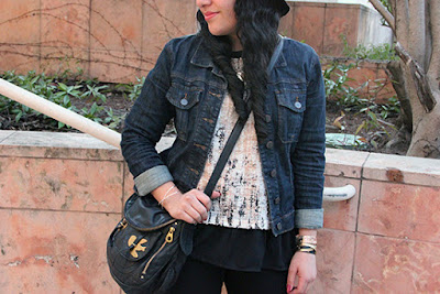 LE TOTE Denim Jacket Pink Blush Knit Top Marc Jacobs Blogger Outfit