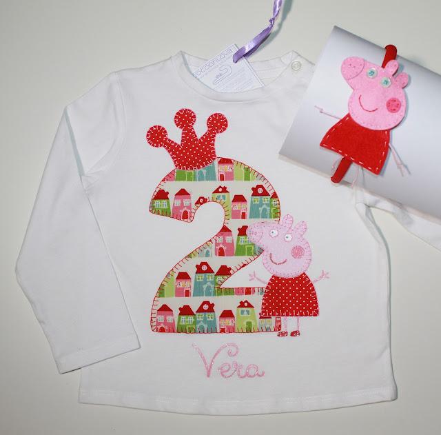 conjunto de cumpleaños camiseta y diadema peppa pig