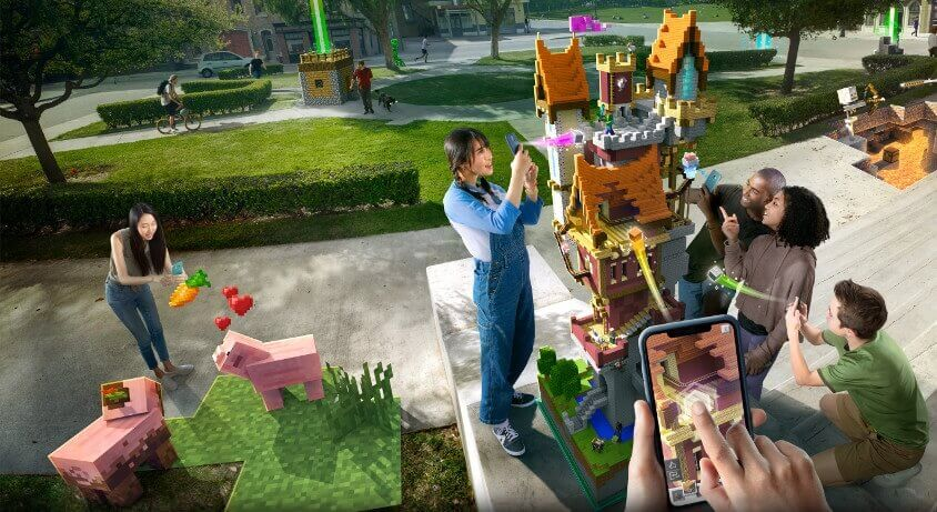 Game Augmented Reality Minecraft Earth