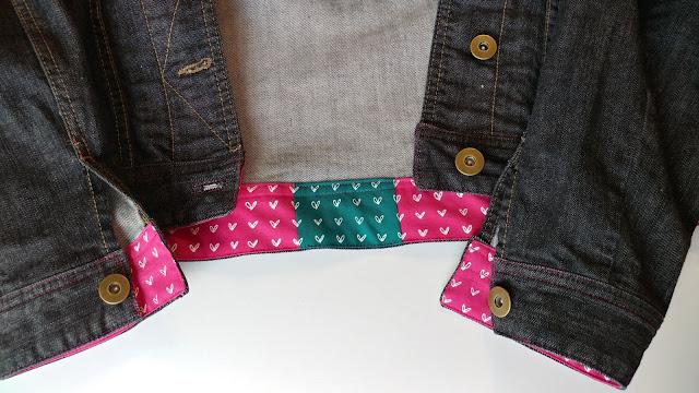 Fussy cut and pattern matched waistband on denim jacket