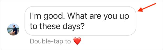 انقر مع الاستمرار فوق رسالة في Instagram DM